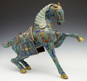 Large Cloisonne On Brass Horse, With Floral And Bird