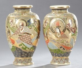 Pair Of Large Japanese Satsuma Baluster Vases, C. 1900,