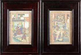 Pair Of Chinese Famille Rose Plaques, Late 19th/early