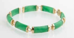 14k Yellow Gold Link Bracelet, With Eight Gold Mounted