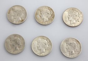 Group Of Six Us Silver Dollars, Consisting Of 1935,