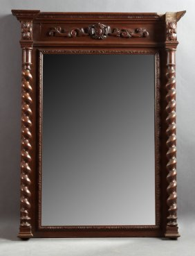 French Henri Ii Style Carved Walnut Pier Mirror And
