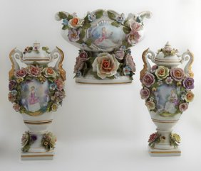 Continental Three Piece Meissen Style Porcelain
