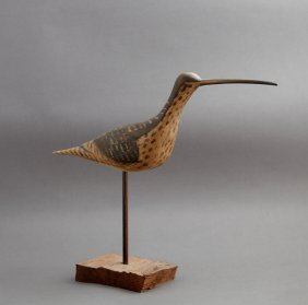 Carved And Polychromed Figure Of A Curlew, 20th C., By