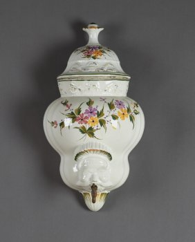 French Ceramic Lavabo, Early 20th C., With Relief And