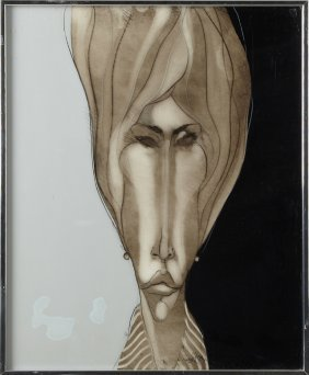 "Ned Moulton, ""visage Ii,"" 20th C., Acrylic On Plastic,"