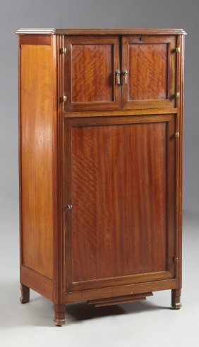 French Art Deco Carved Mahogany Music Cabinet, Early
