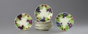 Set Of Twelve French Majolica Fruit Plates, 19th C.,