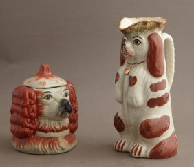Two Staffordshire Style Dogs, One A Pitcher, 19th C.,