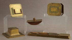 Arts And Crafts Bronze Six Piece Desk Set, C. 1905, By