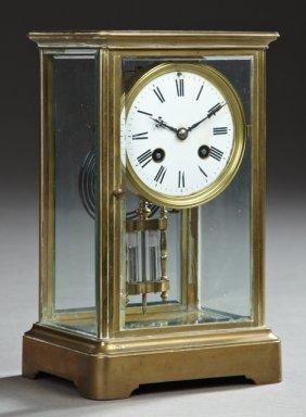 French Brass Crystal Regulator Mantel Clock, Early 20th