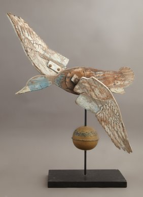 Carved Wood And Gilt Brass Duck Whirligig, Early 20th