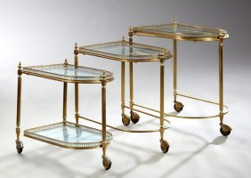 Nest Of Three French Modern Polished Brass Tables,