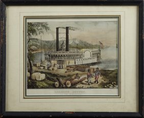 "Currier And Ives, ""loading Cotton On The Mississippi,"""