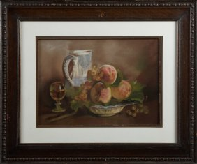 """American School, """"still Life Of Fruit, Wine And"""