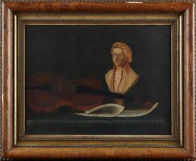 """American School, """"still Life Of A Violin And A Bust Of"""