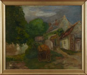 "Adolphe Feder (1886-1943), ""barnyard With Hay Wagon,"""
