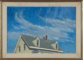 "John G. Bonner, ""birds On The Roof,"" 1981, Oil On"