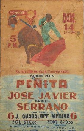 "Mexican School, ""bullfight Poster,"" 1963, Oil On"