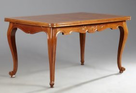 French Louis Xv Style Parquetry Inlaid Cherry Draw Leaf