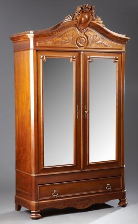 Louis Xvi Style Carved Walnut Double Door Armoire, C.