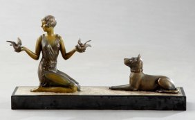 Art Deco Patinated Spelter Figural Group, C. 1940, Of A