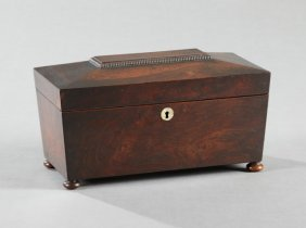English Regency Carved Mahogany Tea Caddy, Early 19th