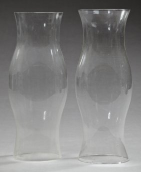 Pair Of Diminutive Blown Glass Baluster Form Hurricane