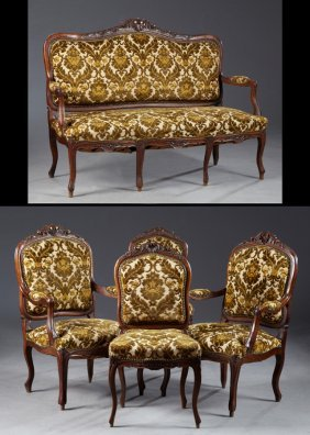 Five Piece French Louis Xv Style Carved Walnut Salon