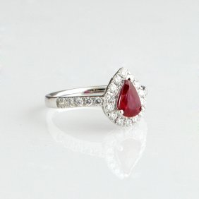 Lady's Platinum Dinner Ring, With A Pear-shaped 1.02