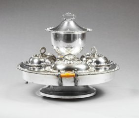 Silverplated Revolving Supper Dish, 20th C., The