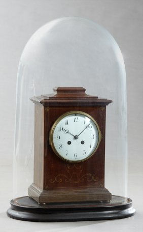 French Brass Inlaid Carved Mahogany Mantel Clock, Early