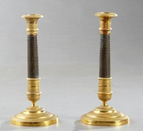 Pair Of Gilt And Patinated Brass Empire Style