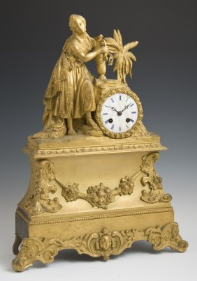 Gilt Bronze Figural Mantel Clock, Late 19th C., The