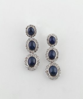 Pair Of 14k White Gold Pendant Earrings, Each With