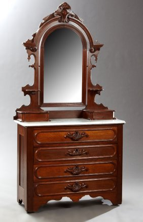 American Victorian Carved Walnut Marble Top Dresser,