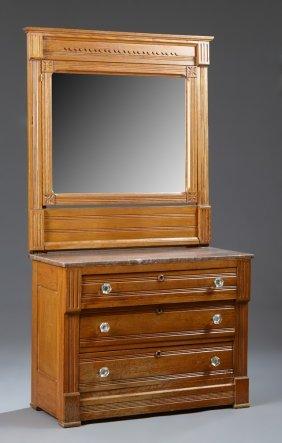 Two Piece American Eastlake Carved Oak Bedroom Suite,