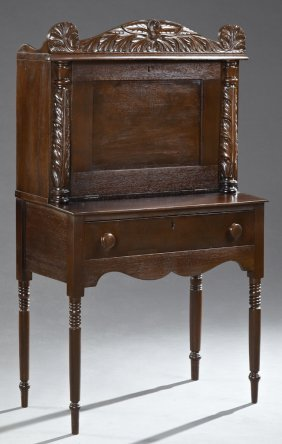 American Classical Carved Mahogany Desk, 19th C., With