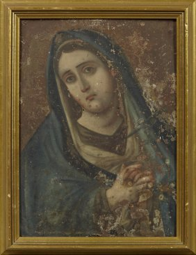 Mexican Retablo Of The Virgin Mary, Early 20th C., Oil