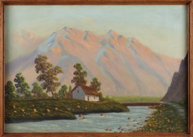 """American School, """"house In The Valley,"""" Early 20th C.,"""