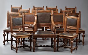 Set Of Fifteen Louis Xiii Style Carved Oak Dining