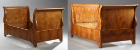 Pair Of French Charles X Inlaid Walnut Lit Du Coin,