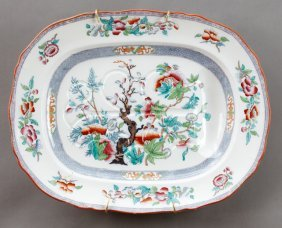 Large English Ironstone Tree And Well Platter, 19th C.,