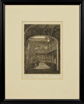 """Eugene Loving (1908-1971), """"castillian Arms Court,"""""""