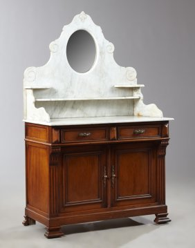 Late Victorian Carved Walnut Marble Top Washstand, Late