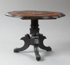 French Empire Style Ebonized Marquetry Inlaid Center