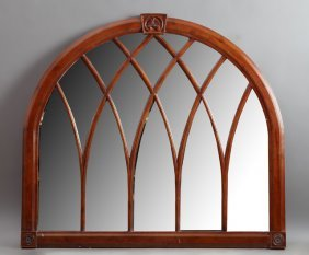 Carved Mahogany Gothic Style Overmantel Mirror, Late