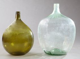 Two Mold Blown Glass Wine Carboys, 19th And Early 20th