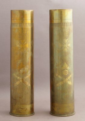 Pair Of Trench Art Vases, C. 1918, The Sides With