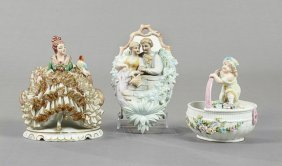 Three Pieces Of German China, Consisting Of A Dresden